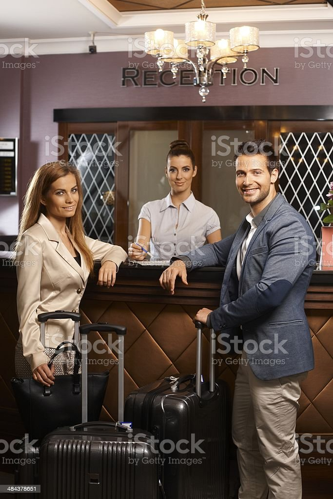 Arriving in holiday stock photo