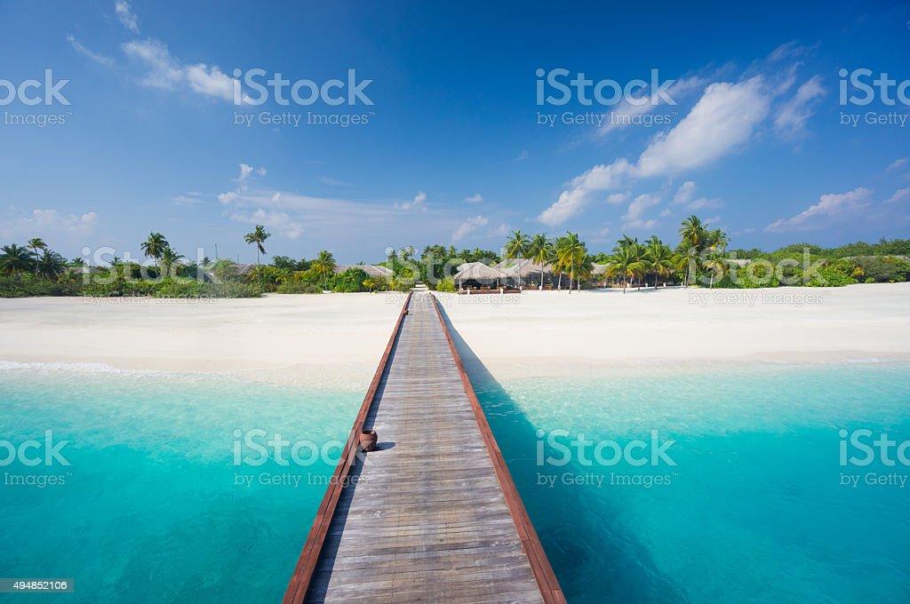 arriving on tropical island resort stock photo