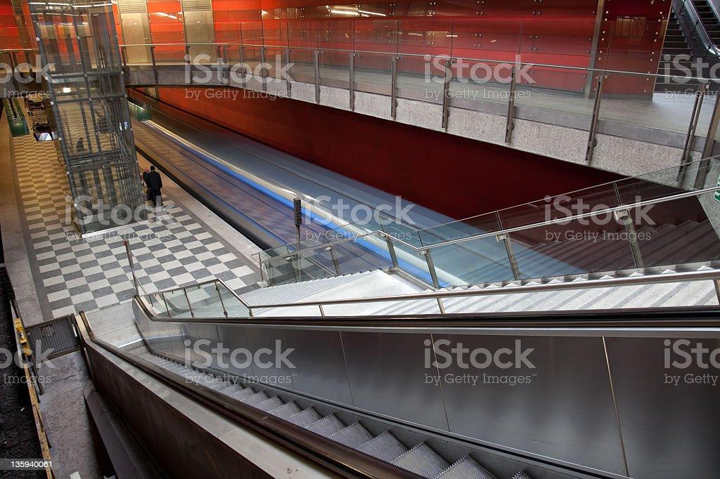 arriving subway royalty-free stock photo