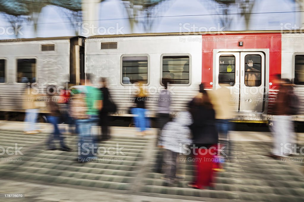 arriving train at the station stock photo