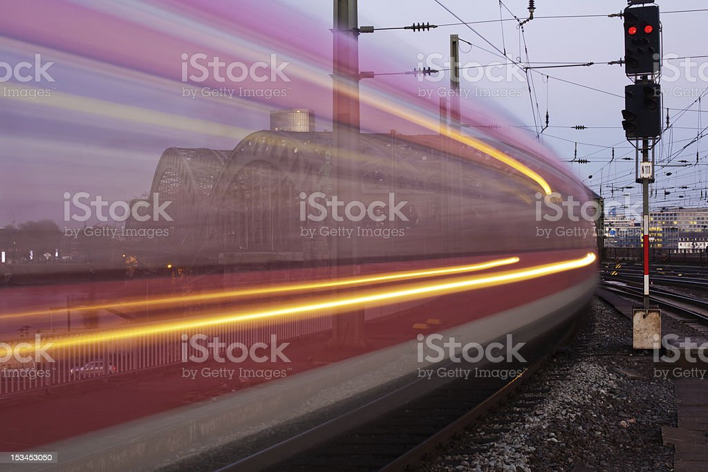 arriving train royalty-free stock photo