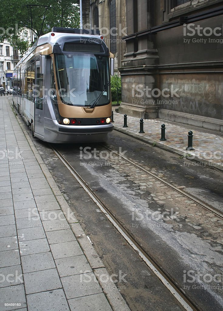 Arriving tram stock photo