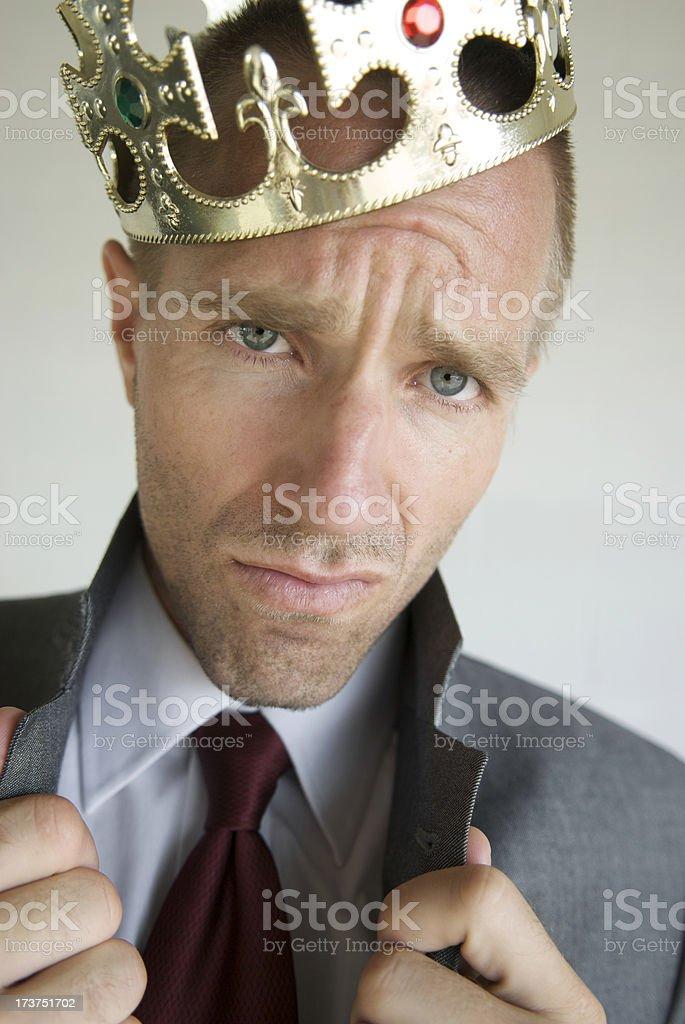 Arrogant King Dude Businessman Pops Collar with Attitude royalty-free stock photo