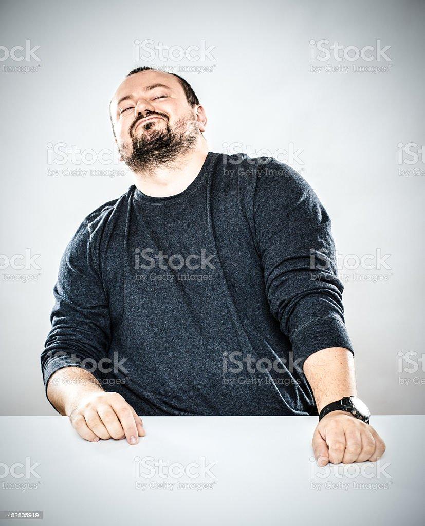 Arrogant Man Desk Portrait royalty-free stock photo