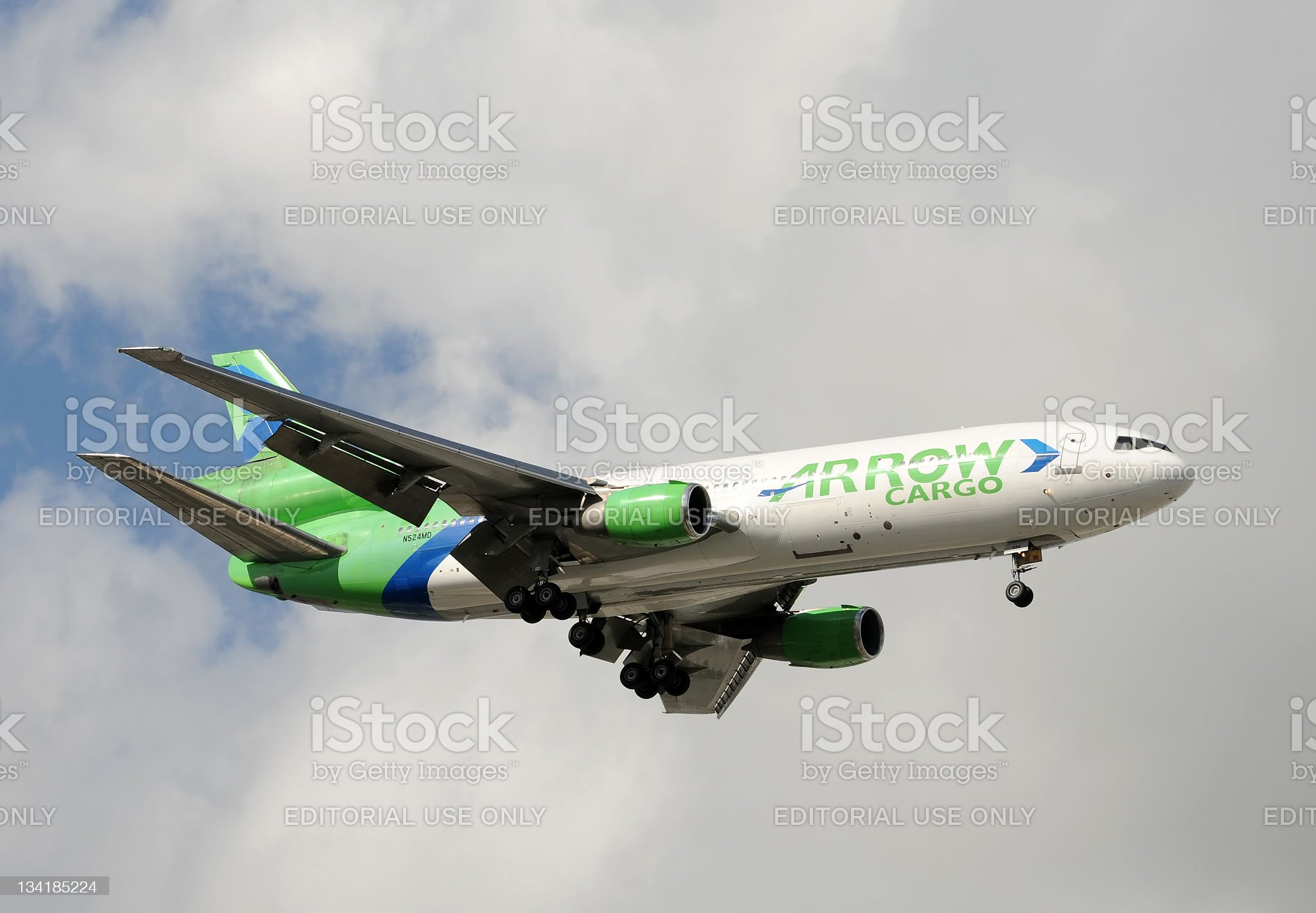 Arrow Air cargo jet landing royalty-free stock photo