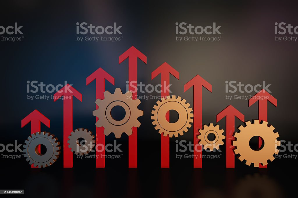 Arrow and gear stock photo