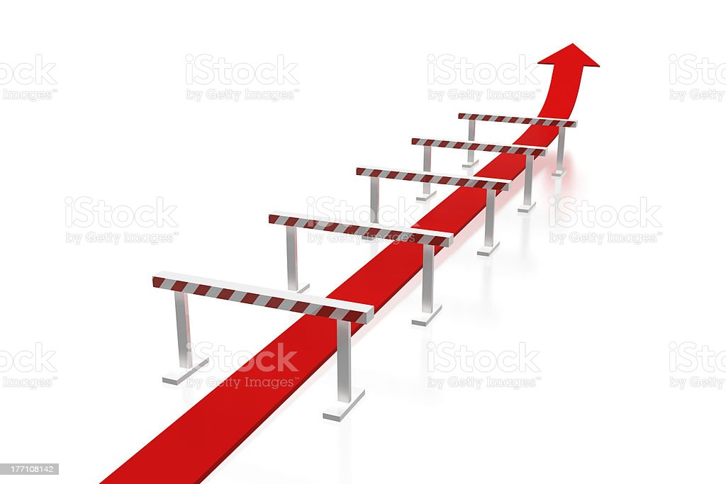 Arrow and obstacles royalty-free stock photo