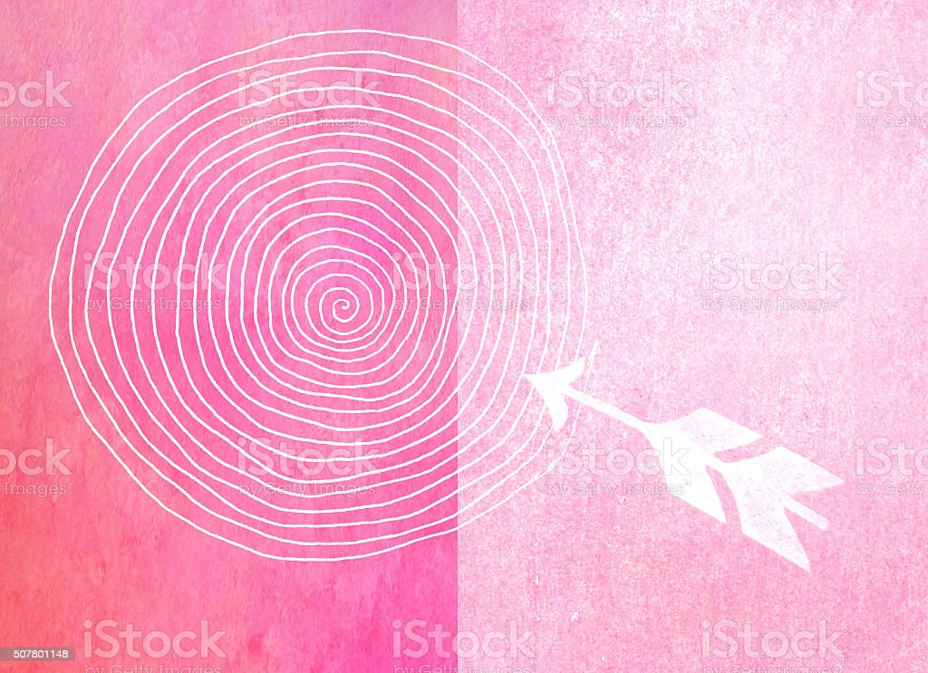 arrow and target - handmade print on textured background stock photo