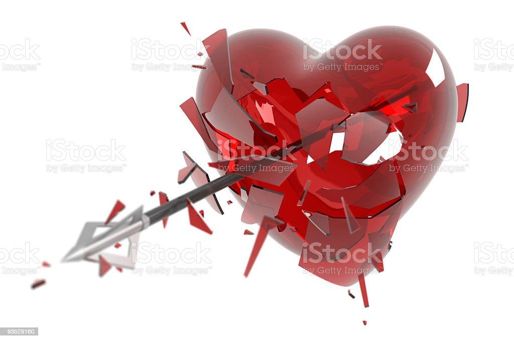 Arrow breaks a heart royalty-free stock photo