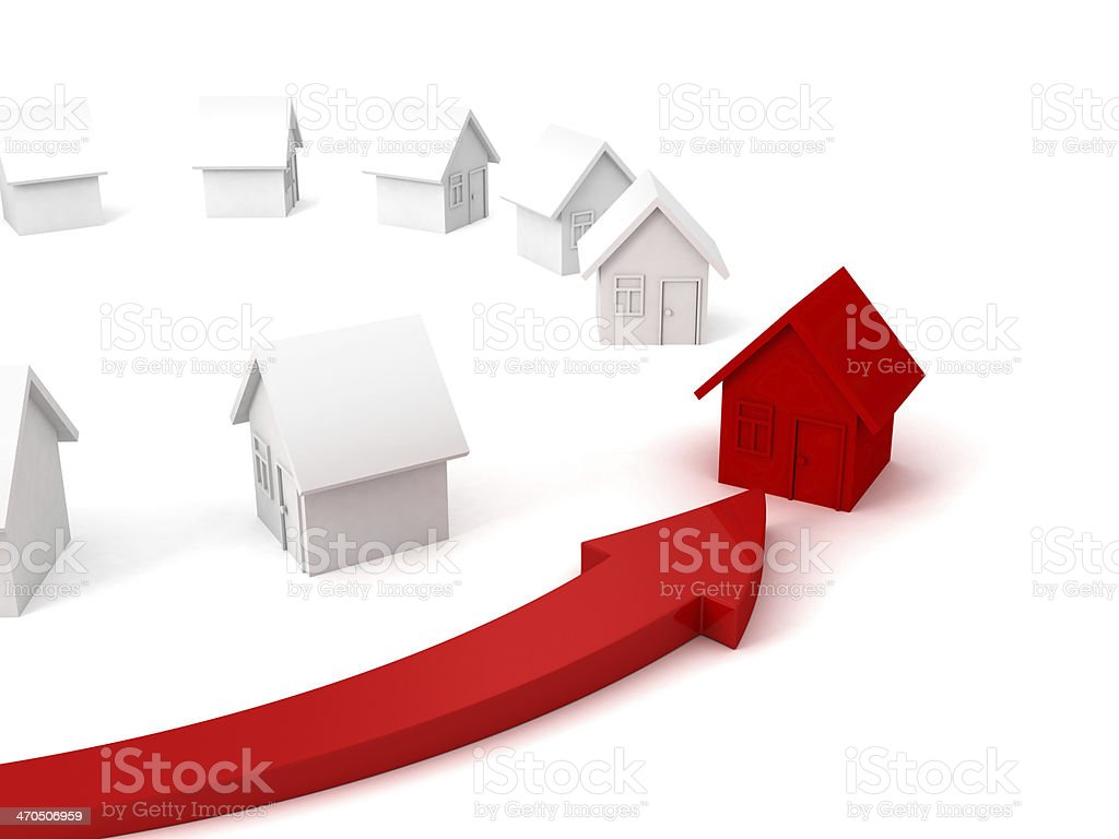 arrow choice pointing individual red house other set stock photo