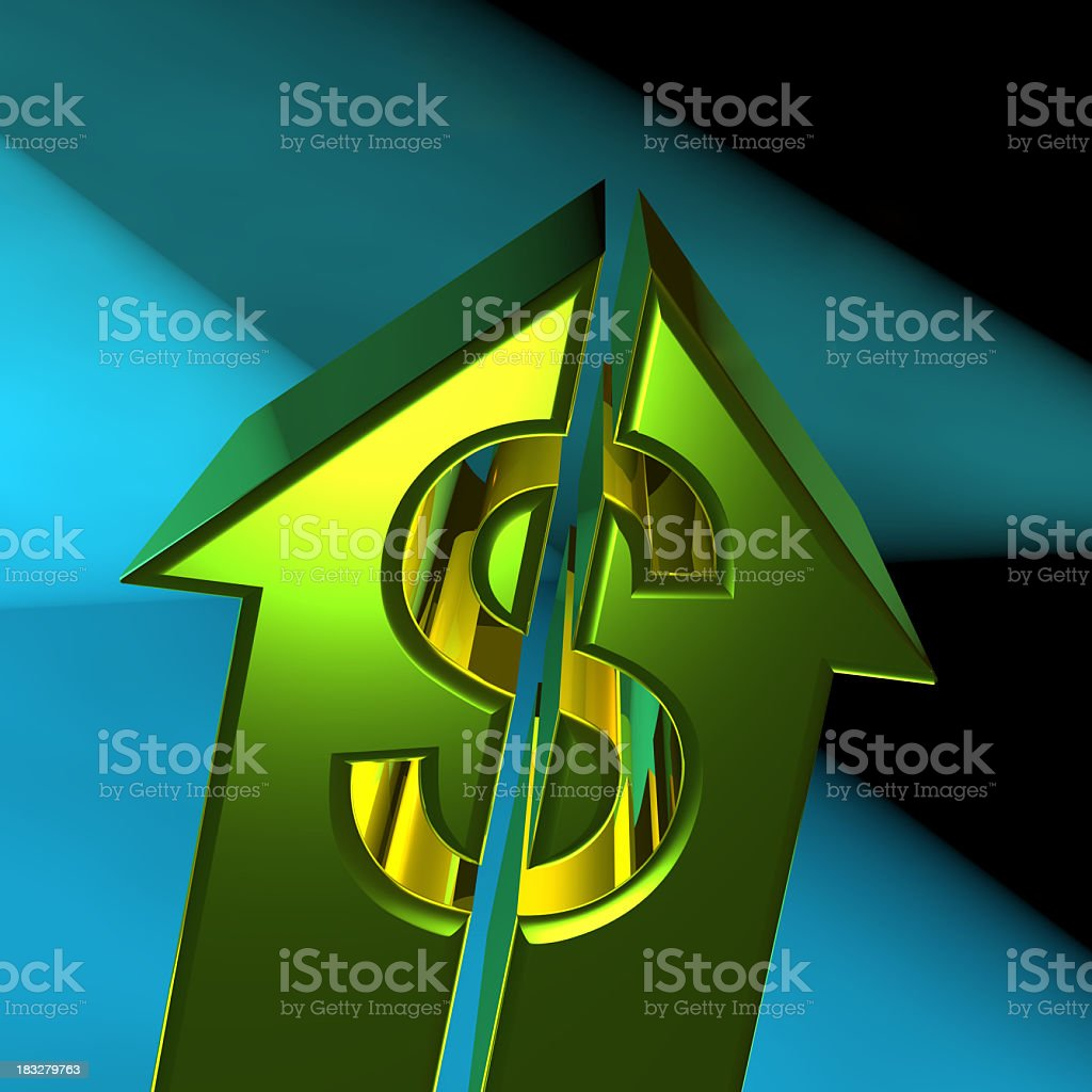 Arrow Dollar sign going up royalty-free stock photo