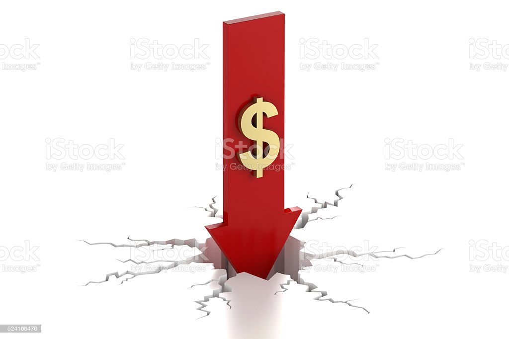 Arrow down with dollar decrease crack stock photo