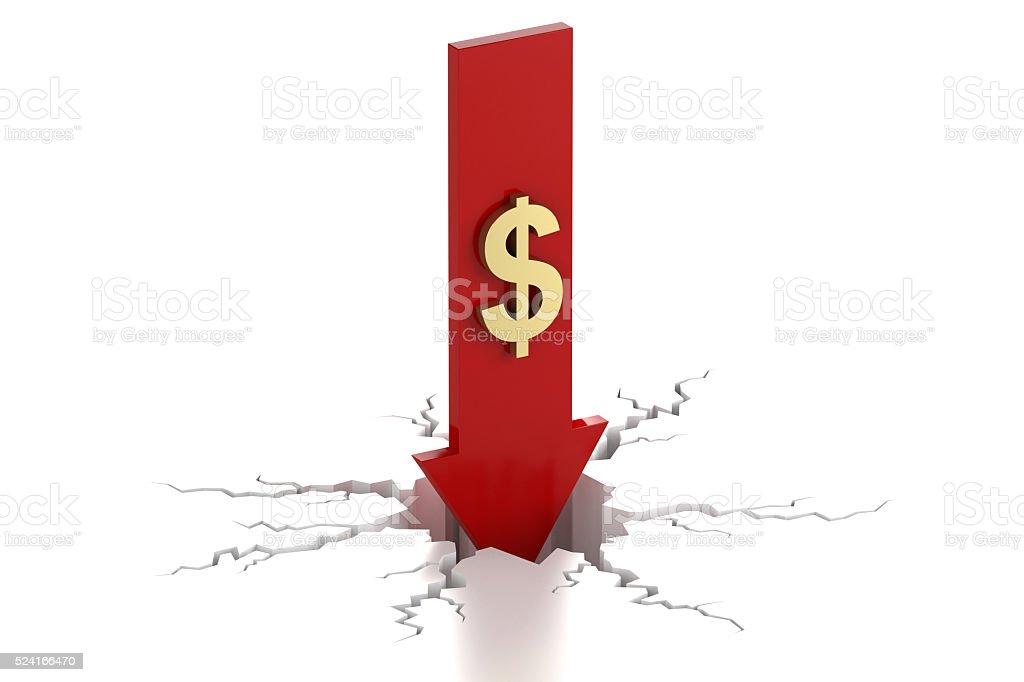 Arrow down with dollar decrease crack stock photo