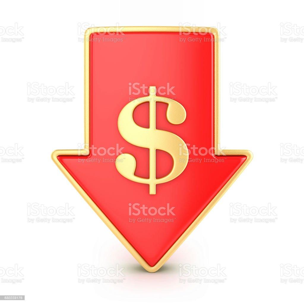 Arrow down with dollar stock photo