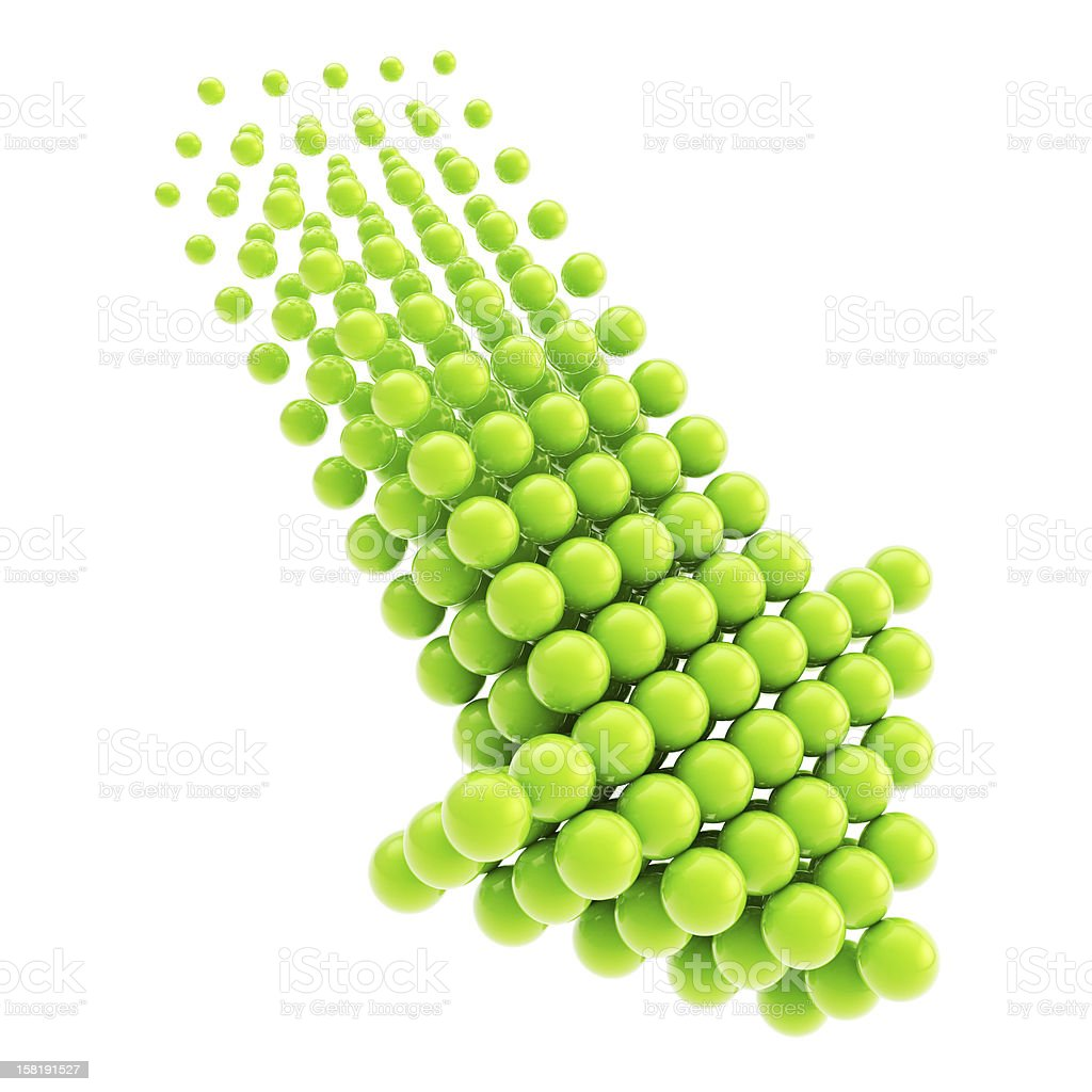 Arrow emblem icon made of spheres isolated stock photo