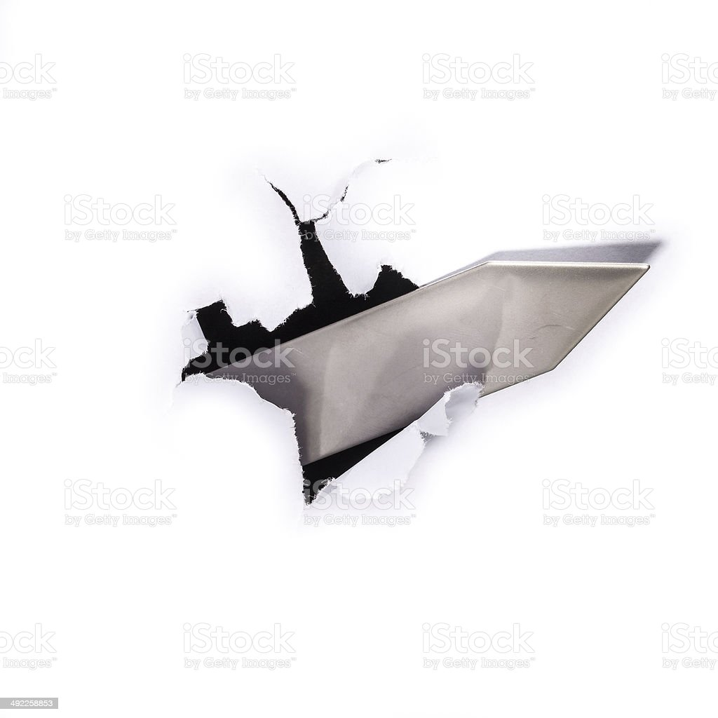 Flecha va a través de un orificio foto de stock libre de derechos