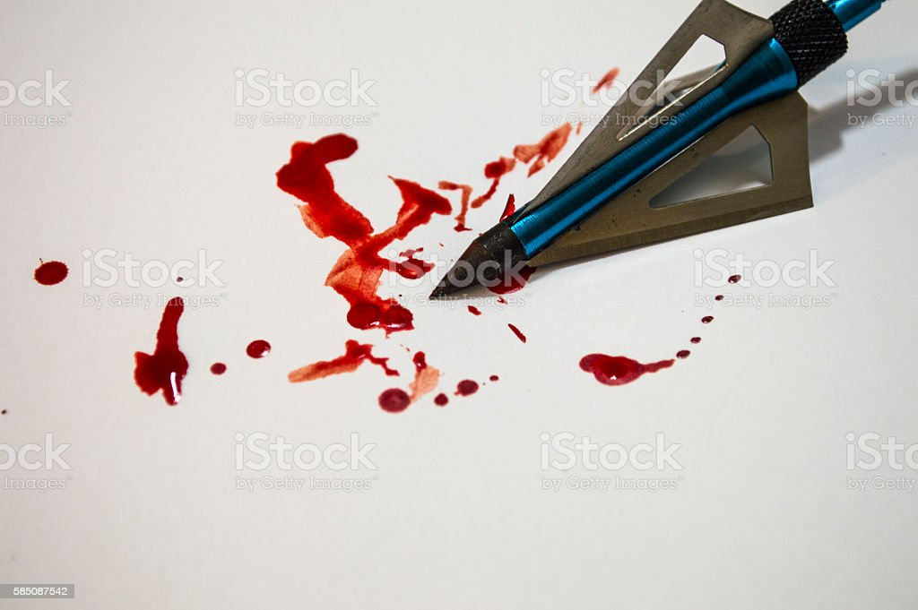 Arrow head dripping with blood stock photo