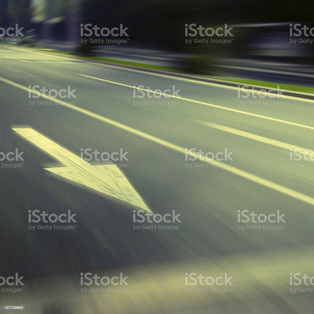 Arrow Highway at night royalty-free stock photo