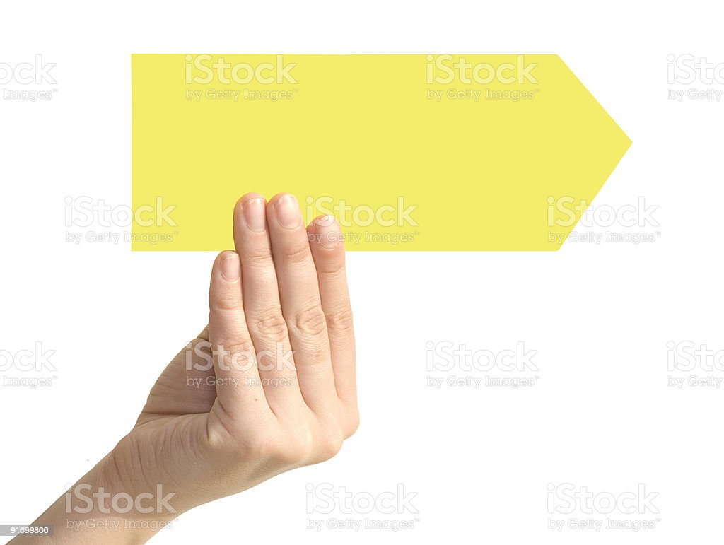 arrow in a hand royalty-free stock photo