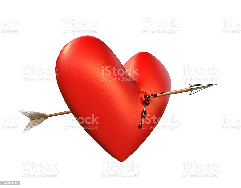 Arrow in bleeding Heart. Side, isolated. royalty-free stock photo