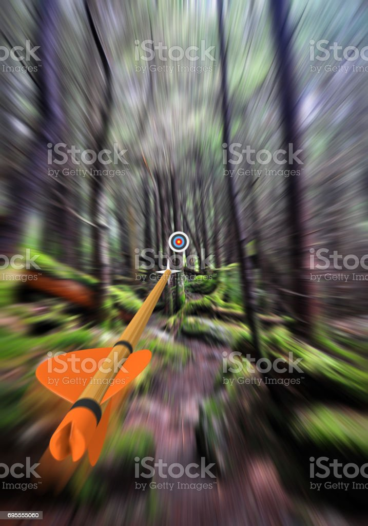 Arrow in focus flying past trees to an archery target in the background, part photo, part 3D rendering stock photo
