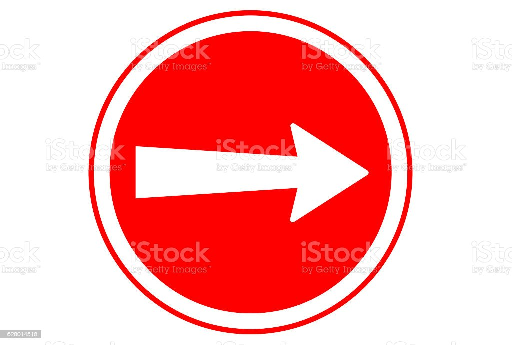 Arrow in red circle traffic sign, white background, copy space stock photo