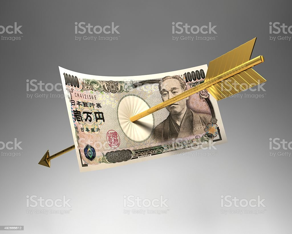 Arrow & Japan bill stock photo