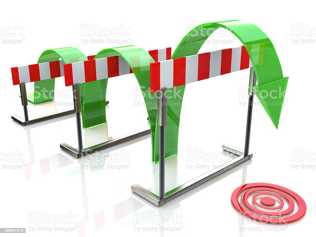 Arrow jumping over hurdles stock photo