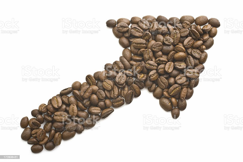 Arrow made of coffee beans royalty-free stock photo