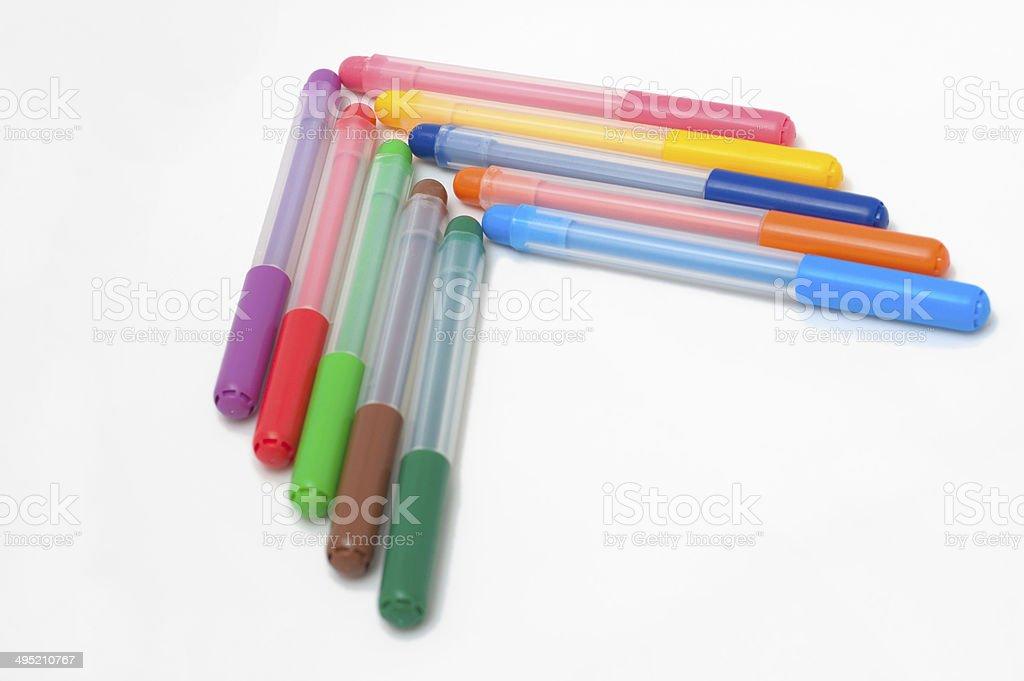 arrow of fel-tip pens stock photo