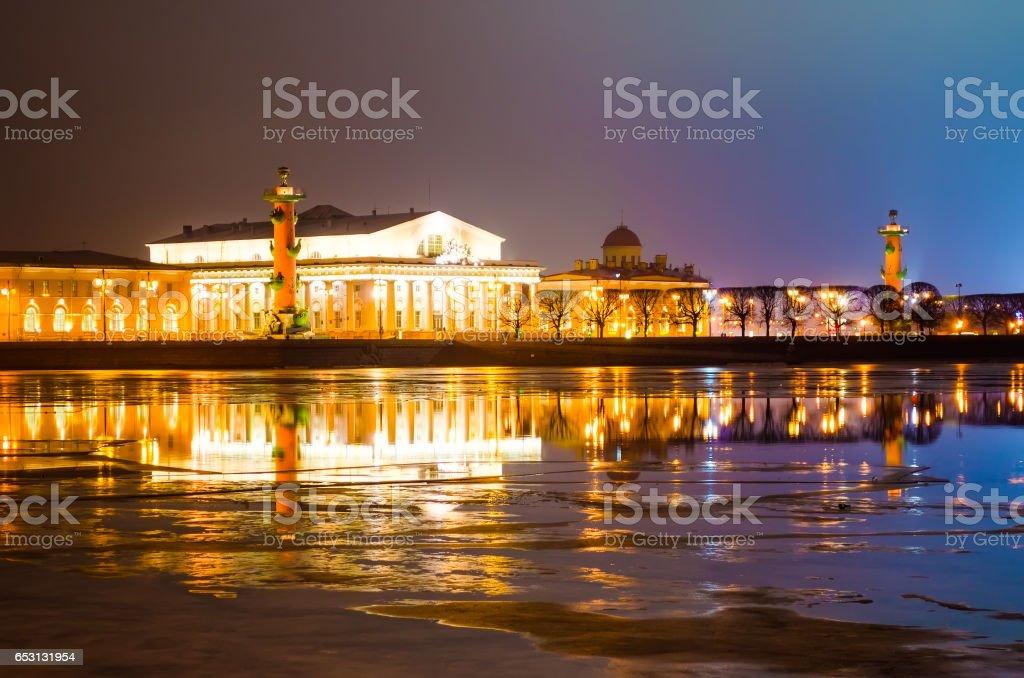 Arrow of Vasilyevsky Island at night in cloudy weather in St. Petersburg stock photo