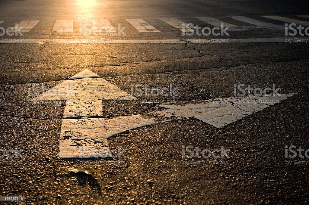 arrow on road stock photo