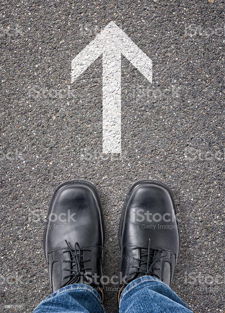 Arrow on the floor stock photo