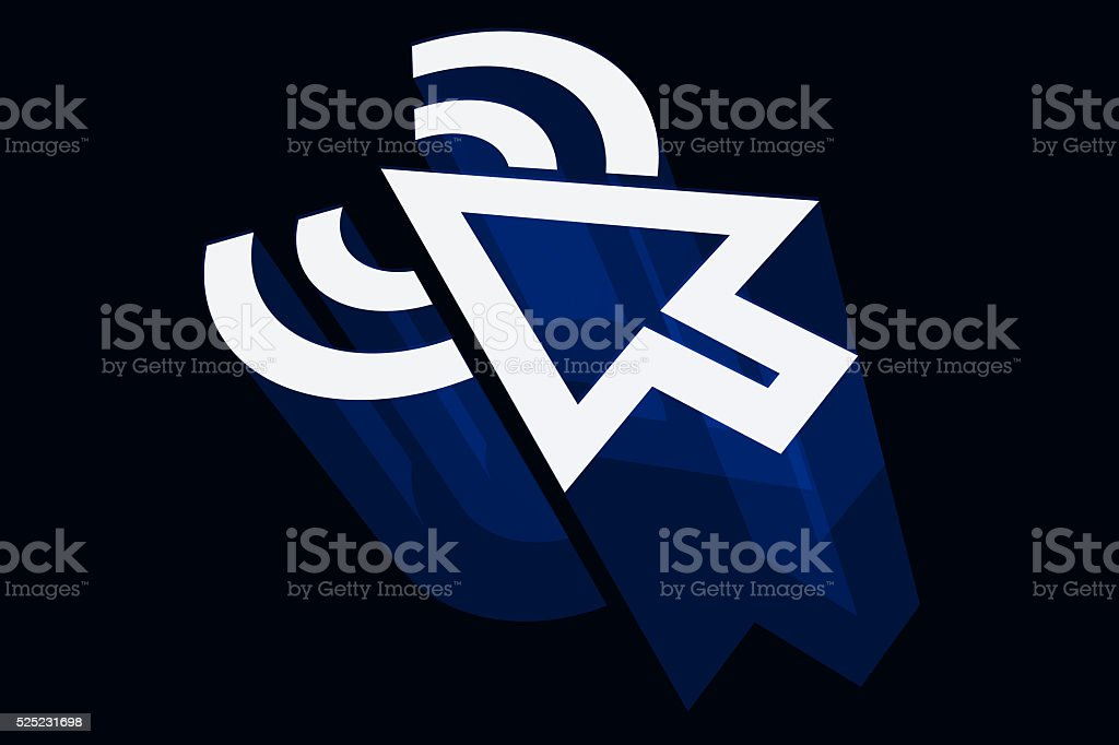 Arrow Pointer and Wifi Sign stock photo