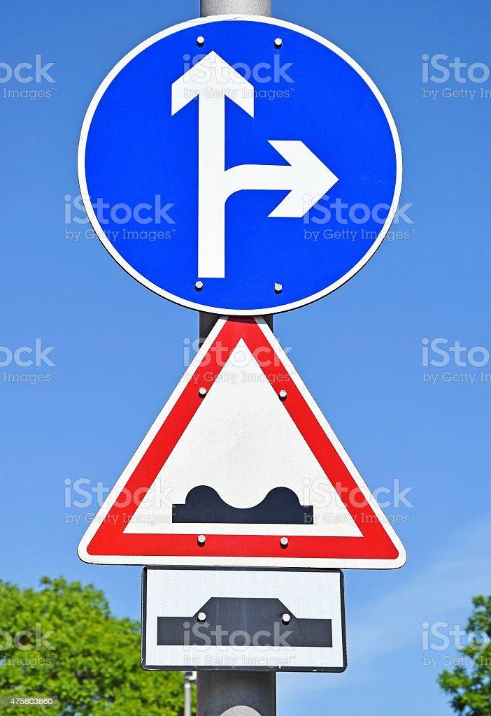 Arrow road sign stock photo