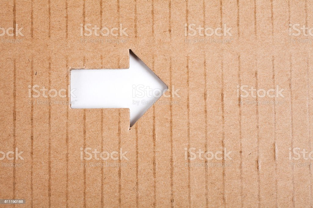 Arrow Sign and cardboard stock photo