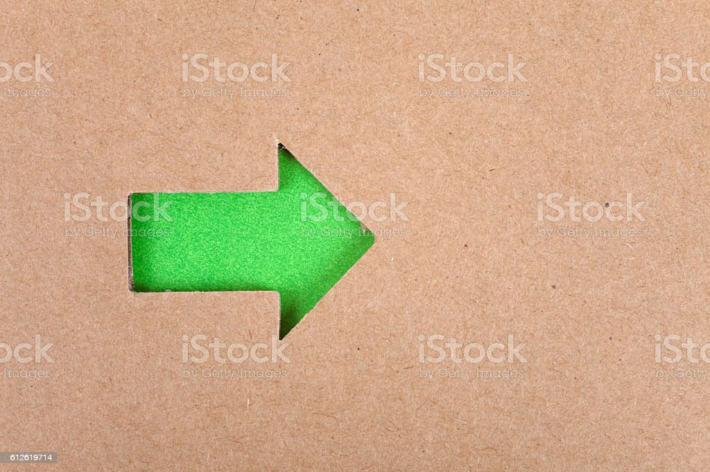 Arrow Sign and cardboard stock photo