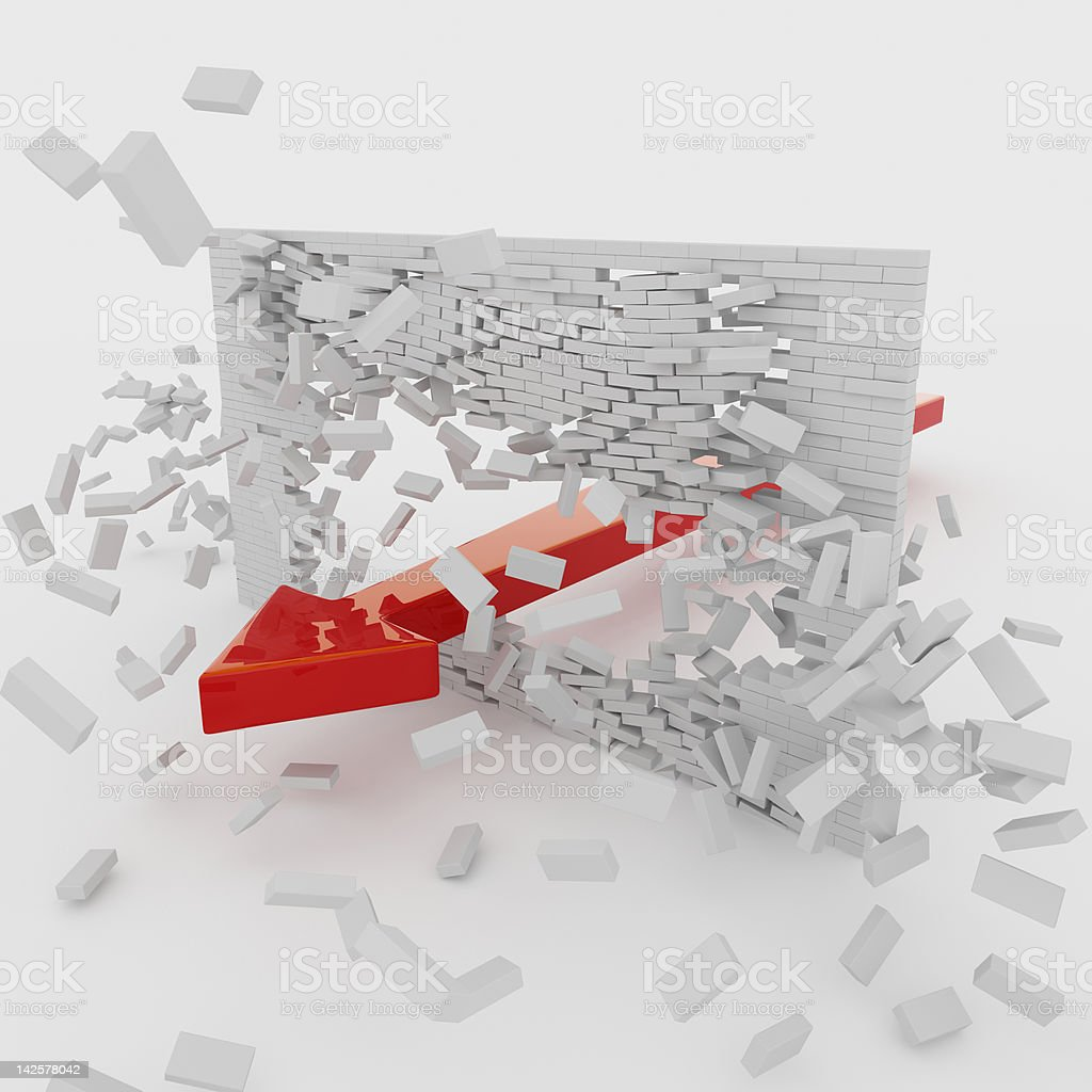 Arrow through the wall royalty-free stock photo