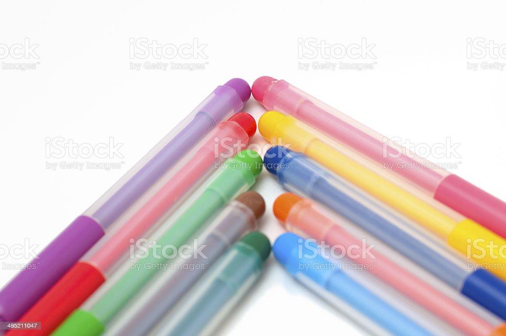 arrow up of fel-tip pens stock photo