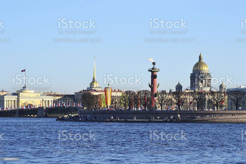 Arrow Vasilievsky Island in St.Petersburg stock photo