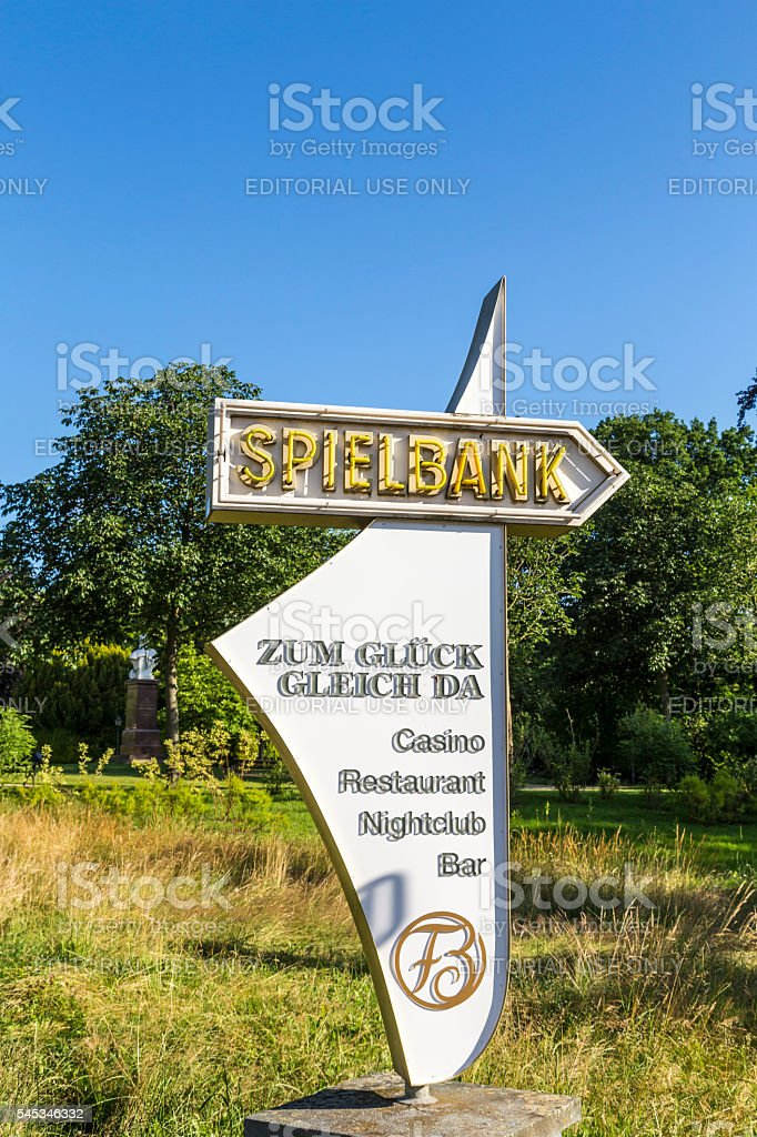 arrow with sign to Spielbank in Bad Homburg stock photo