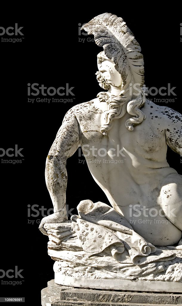 Arrow wounded Achilles statue ready cropped on black background royalty-free stock photo