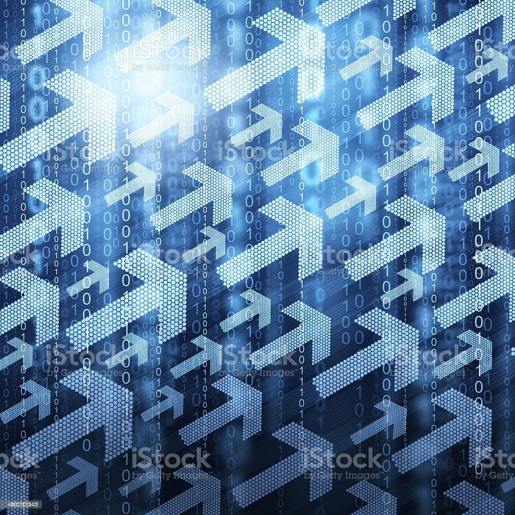 Arrows and binary code stock photo