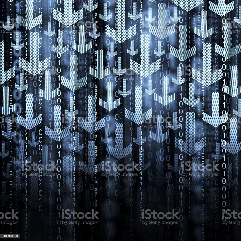 Arrows and binary code stock photo