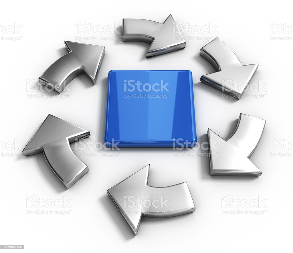 Arrows and block stock photo