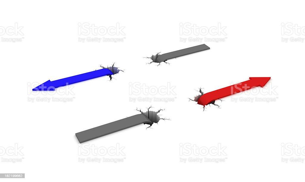 Arrows and precipice stock photo