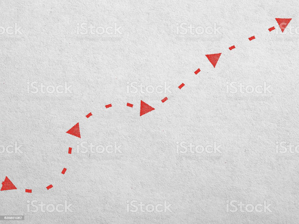 Arrows and the dotted line on the paper. Searching concept stock photo