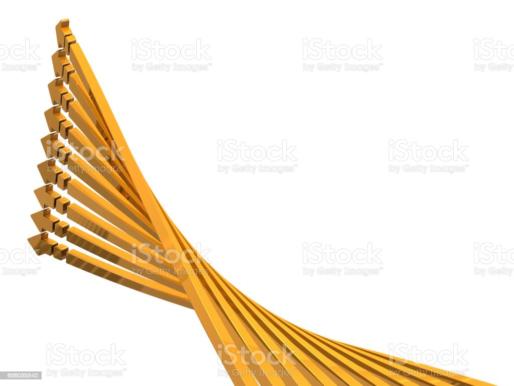 9 arrows ascending to the upper left. stock photo
