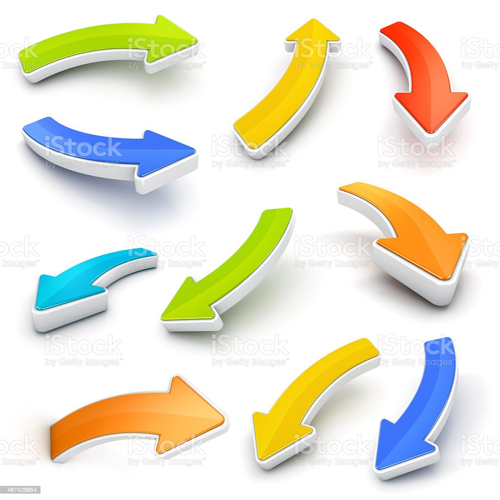 Arrows collection colorful 3D with shadows -clipping path stock photo