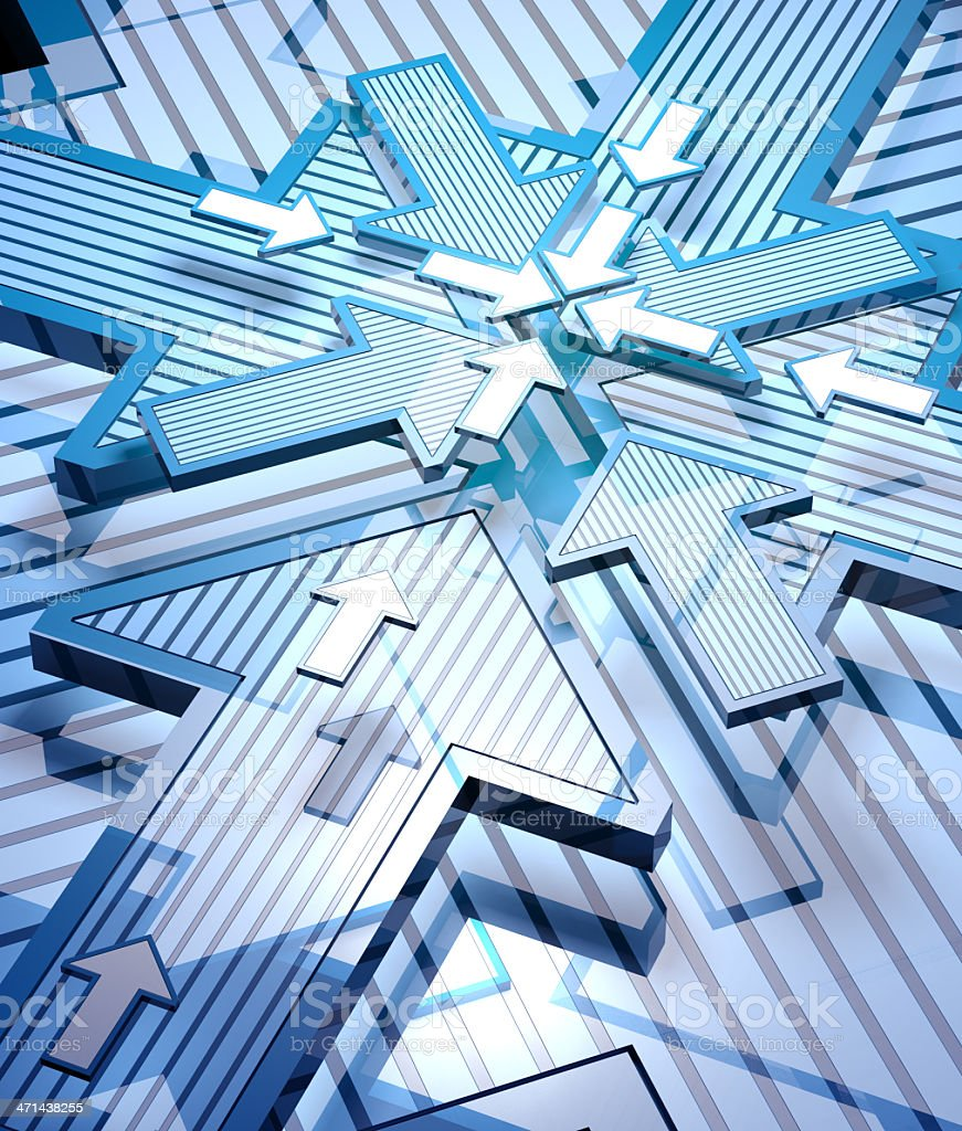 3D arrows composition. Direction concept royalty-free stock photo